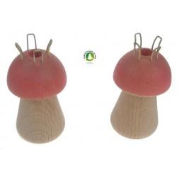 Tricotin en bois en forme de champignon