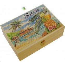 Boîte à sucre plage et cocotiers