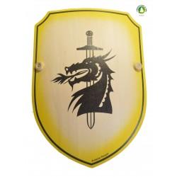 Bouclier bombée dragon jaune